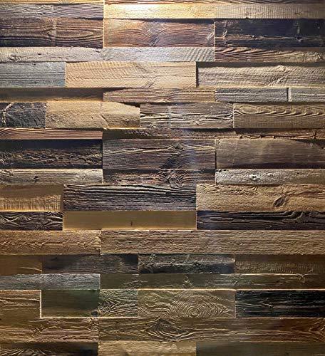 3D Altholz Wandverkleidung zum Kleben. Vintage Holz Verkleidung. Schnell anzubringende Wandpeneele. Tolle Holzdeko für die Wand. Echtholz Verblender