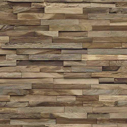 Holz Wandverkleidung mit 3d Paneelen aus verwittertem Holz