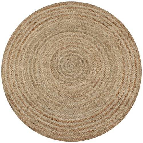 Teppich Handgefertigt Jute Geflochten 120cm Rund