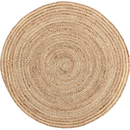 Jute rund Teppich, Textil, beige, 91,4 cm