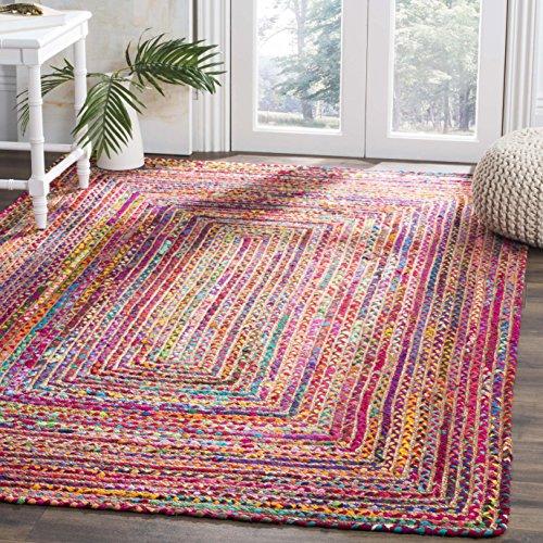 Teppich, handgewebt, Jute und Baumwolle, 122 cm