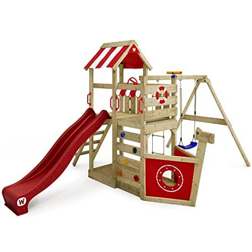 Spielturm Klettergerüst SeaFlyer mit Schaukel & roter Rutsche