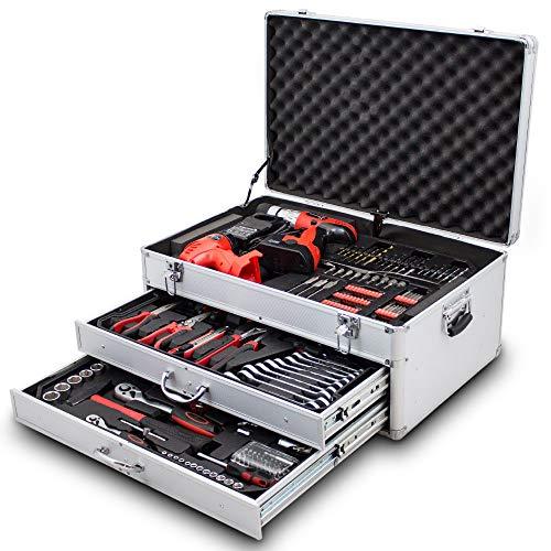 206 tlg Werkzeugkiste komplett Werkzeugkoffer inklusive Akkuschrauber